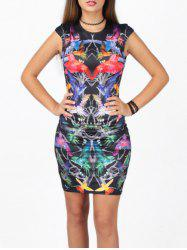 Slimming 3D Bird Print Bodycon Dress -