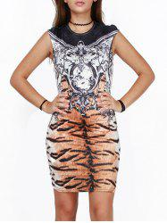 Tiger Striped Printed Skinny Bodycon African Style Dress