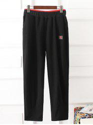 Elastic Waist Lip Pattern Plus Size Pants - BLACK 3XL