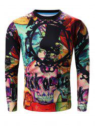 Round Neck 3D Halloween Letter and Skull Print Long Sleeve Sweatshirt -