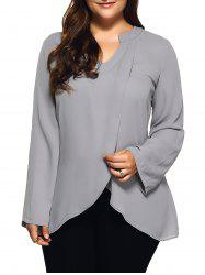 Plus Size Front Slit Loose Blouse - LIGHT GRAY