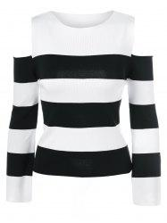 Cold Shoulder Striped Pullover Sweater -