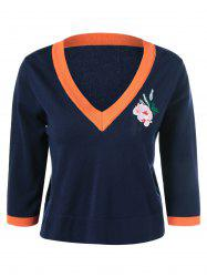 Embroidery V Neck Pullover Knitwear -