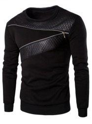 PU Leather Panel Zipper Design Sweatshirt - BLACK
