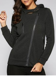 Hooded Zippered Pocket Design Jacket