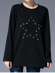 Round Neck Star Pattern Studded T-Shirt -