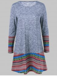 Tribal Pattern Long Sleeve Dress - GRAY XL