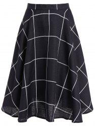 High-Waisted Plaid Skater Skirt - BLACK