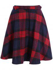 Pocket Design High-Waisted Plaid Skirt - RED