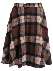 Plaid Winter Mini Skater Skirt - KHAKI