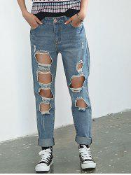 Broken Hole Rolled Cuff Jeans -