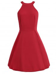 Retro Style Round Neck Flare Dress - RED XL