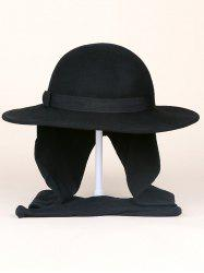 Wide Brim Wool Felt Bowknot Strappy With Scarf Fedora Hat