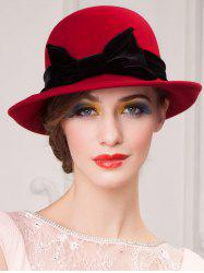 Wide Brim Wool Felt Big Bowknot Fedora Hat