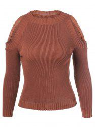 Cut Out Pullover Sweater - COFFEE ONE SIZE