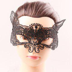 Mystical Upper Half Face Black Lace Carnival Masquerade Hollow Out Masks - BLACK