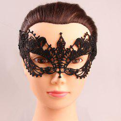 Mystical Upper Half Face Black Lace Hollow Out Carnival Masquerade Masks - BLACK