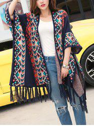 Loose Tribal Print Fringed Cape Cardigan