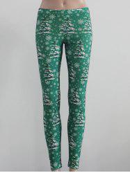 Tree and Snowflake Print Leggings -
