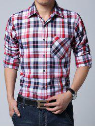 Breast Pocket Long Sleeve Plaid Shirt