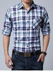 Long Sleeve Breast Pocket Plaid Shirt -