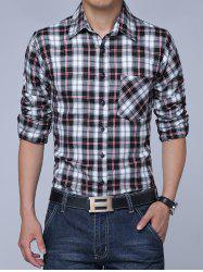Long Sleeves Turn-down Collar Plaid Shirt -