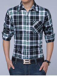 Long Sleeves Button Up Plaid Shirt -