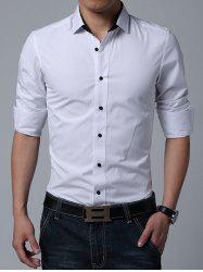 Turn-down Collar Long Sleeve Button Up Plain Shirt
