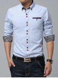 Embroidered Paisley Print Lining Button-Down Shirt -