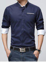 Long Sleeve Plush Lining Button-Down Shirt