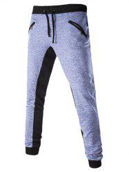 Drawstring Zippered Color Splicing Jogger Pants