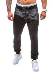 Drawstring Spliced Camo Jogger Pants - BLACK 2XL