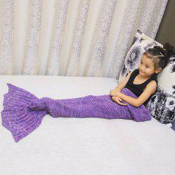 Magic Sofa Decor Knitted Mermaid Blanket For Kids - PURPLE