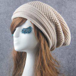 Openwork Crochet Slouchy Acrylic Knit Beanie Hat - OFF-WHITE