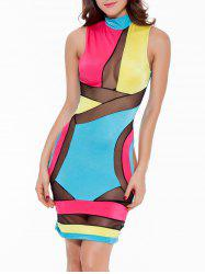 Mock Neck Mesh Panel Colorful Club Dress - BLUE+YELLOW+RED