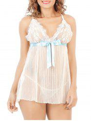 Laciness Bowknot Pleated Babydoll - WHITE