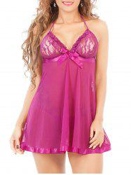 Halter Neck See-Through Mesh Lace Babydoll - PURPLE