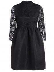 Cutwork Jacquard A Line Lace Dress -