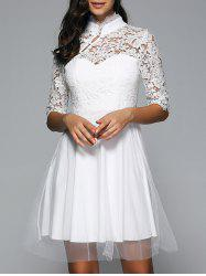 Half Sleeves Laciness Cutwork Dress