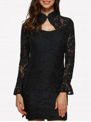 Lace Fitted Short Cocktail Dress with Flare Sleeves - BLACK M