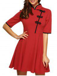 Mandarin Collar Half Sleeves Flare Dress