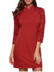 Raglan Lace Sleeve Fitted Mini Dress -