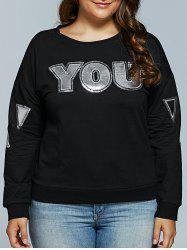 Letter Applique Loose Sweatshirt
