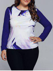 Spliced Abstract Print Raglan Sleeves T-Shirt -