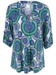 Adjustable Sleeve Round Print Tunic Blouse -