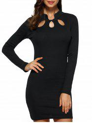 Hollow Out Long Sleeves Bodycon Dress - BLACK