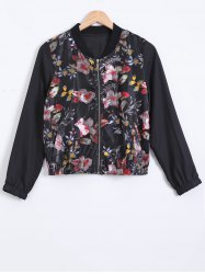 Stand Collar Floral Print Textured Jacket -