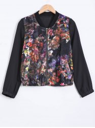 Stand Collar Floral Zipped Jacket - BLACK 2XL