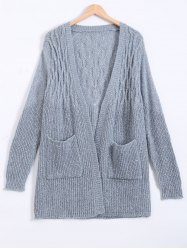 Ribbed Long Cardigan With Pockets -