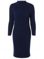 Long Sleeves Ribbed Bodycon Knitted Dress -
